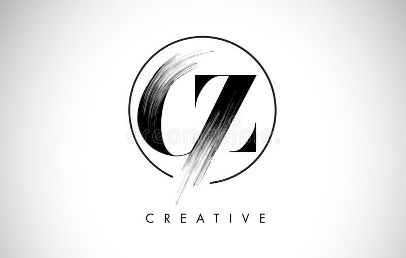 Σχέδιο λογότυπων επιστολών κτυπήματος βουρτσών του CZ Μαύρο εικονίδιο επιστολών λογότυπων χρωμάτων ελεύθερη απεικόνιση δικαιώματος