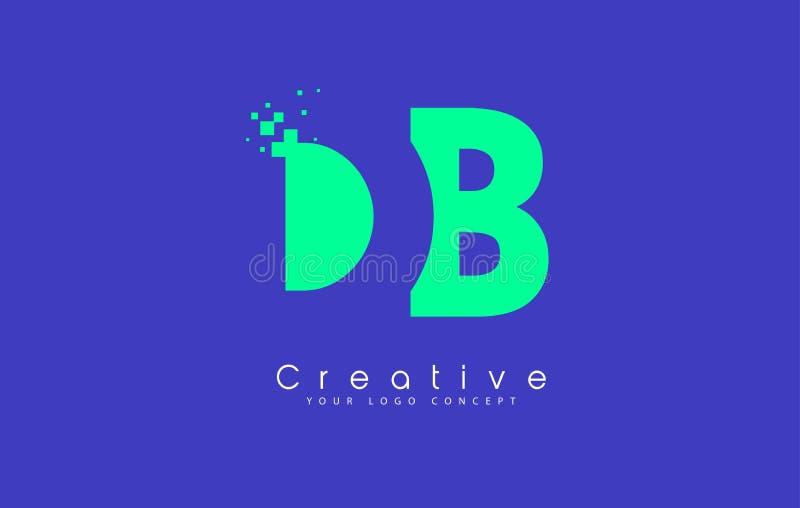 Σχέδιο λογότυπων επιστολών DB με την αρνητική διαστημική έννοια απεικόνιση αποθεμάτων