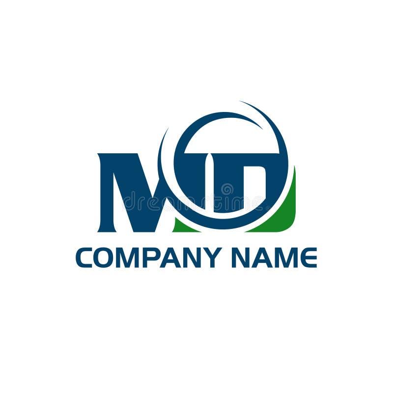 Σχέδιο λογότυπων επιστολών MD Μ Δ στα μαύρα χρώματα διανυσματική απεικόνιση