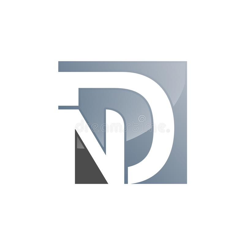Σχέδιο λογότυπων επιστολών ND Ν Δ στα μαύρα χρώματα Δημιουργικό σύγχρονο Lette ελεύθερη απεικόνιση δικαιώματος