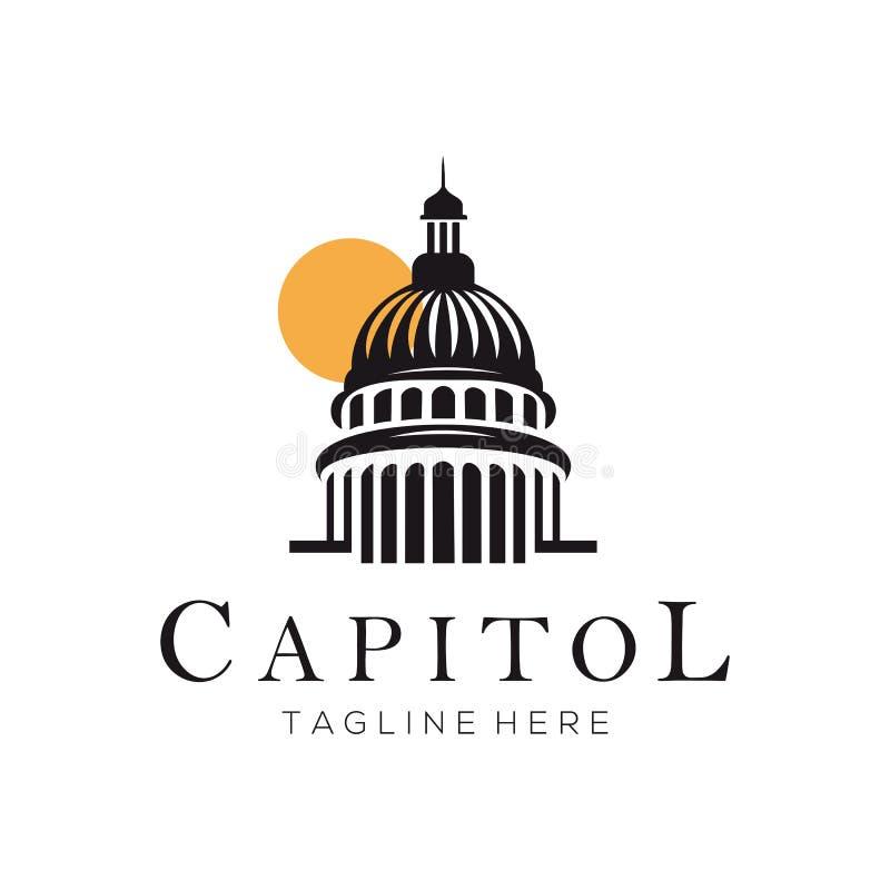 Σχέδιο λογότυπων και εικονιδίων οικοδόμησης κτηρίου Capitol διανυσματική απεικόνιση