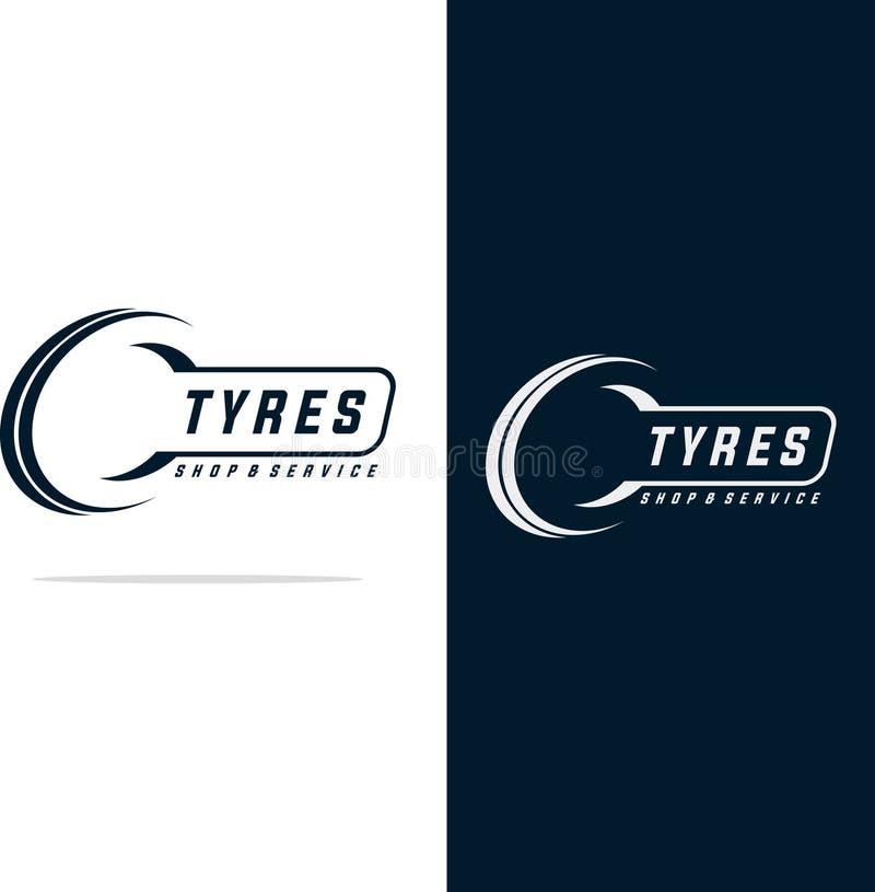 Σχέδιο λογότυπων καταστημάτων ελαστικών αυτοκινήτου - επιχειρησιακό μαρκάρισμα ελαστικών αυτοκινήτου, εικονίδια καταστημάτων λογό ελεύθερη απεικόνιση δικαιώματος