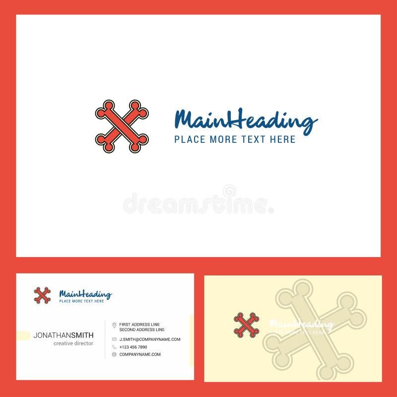 Σχέδιο λογότυπων κόκκαλων με Tagline & το μπροστινό και πίσω πρότυπο καρτών Busienss Διανυσματικό δημιουργικό σχέδιο ελεύθερη απεικόνιση δικαιώματος