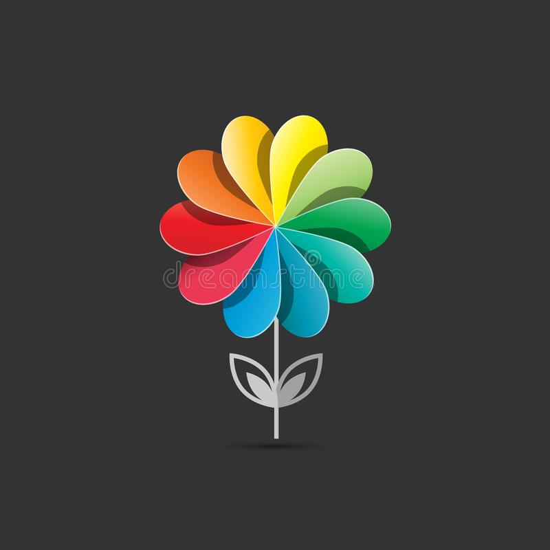 Σχέδιο λογότυπων λουλουδιών Ζωηρόχρωμο σχέδιο επιχείρησης εγκαταστάσεων κύκλων διανυσματική απεικόνιση