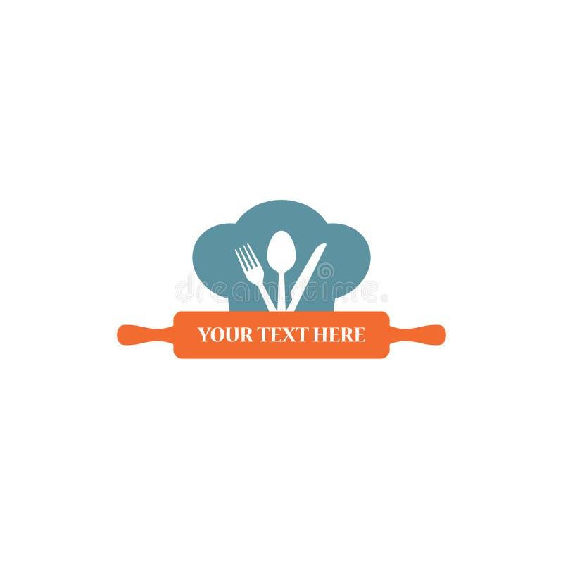 Σχέδιο λογότυπων μαγειρέματος, μονόγραμμα επιχειρησιακών εμπορικών σημάτων εστιατορίων απεικόνιση αποθεμάτων