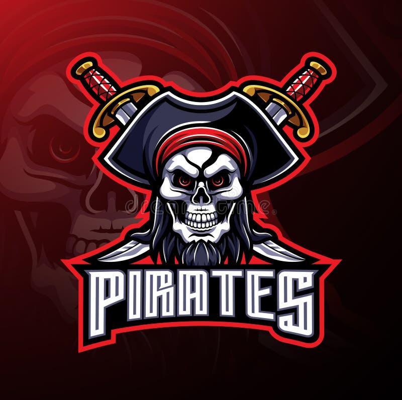 Σχέδιο λογότυπων μασκότ κρανίων πειρατών διανυσματική απεικόνιση