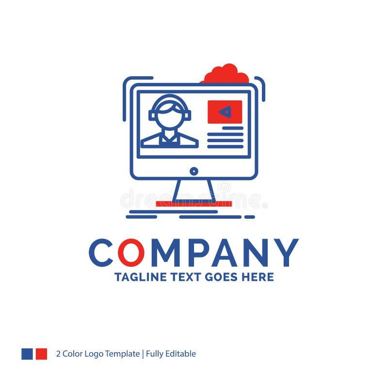 Σχέδιο λογότυπων ονόματος επιχείρησης για τα σεμινάρια, βίντεο, μέσα, σε απευθείας σύνδεση, ed απεικόνιση αποθεμάτων