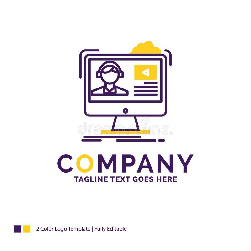 Σχέδιο λογότυπων ονόματος επιχείρησης για τα σεμινάρια, βίντεο, μέσα, σε απευθείας σύνδεση, ed διανυσματική απεικόνιση