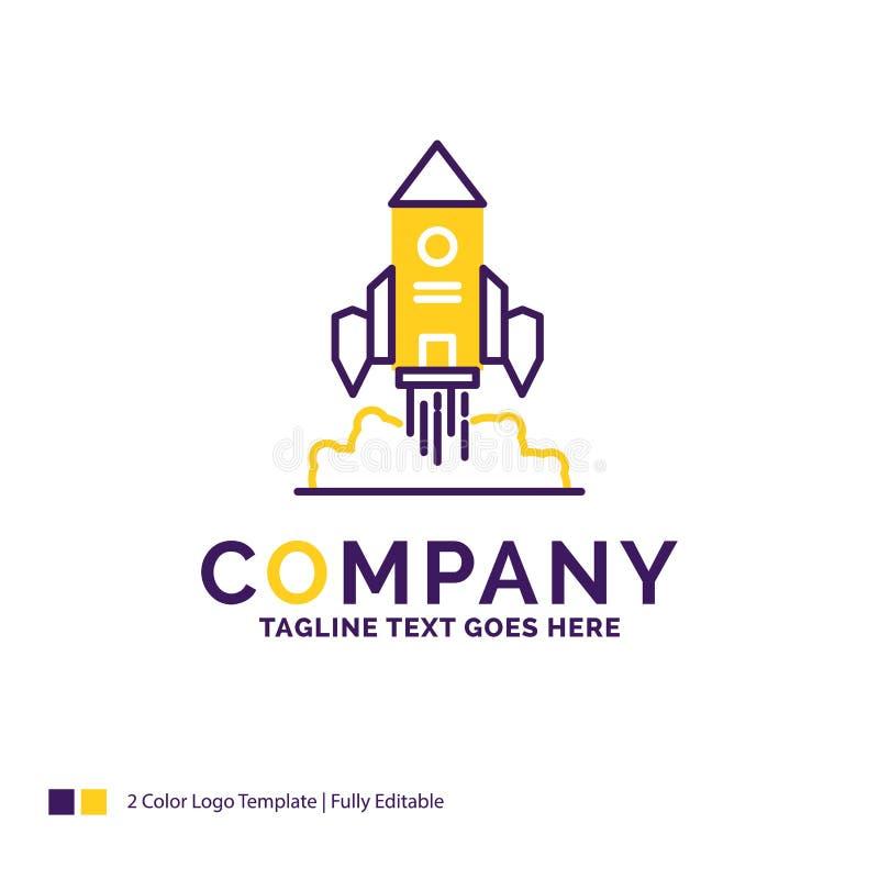 Σχέδιο λογότυπων ονόματος επιχείρησης για τον πύραυλο, διαστημόπλοιο, ξεκίνημα, έναρξη ελεύθερη απεικόνιση δικαιώματος