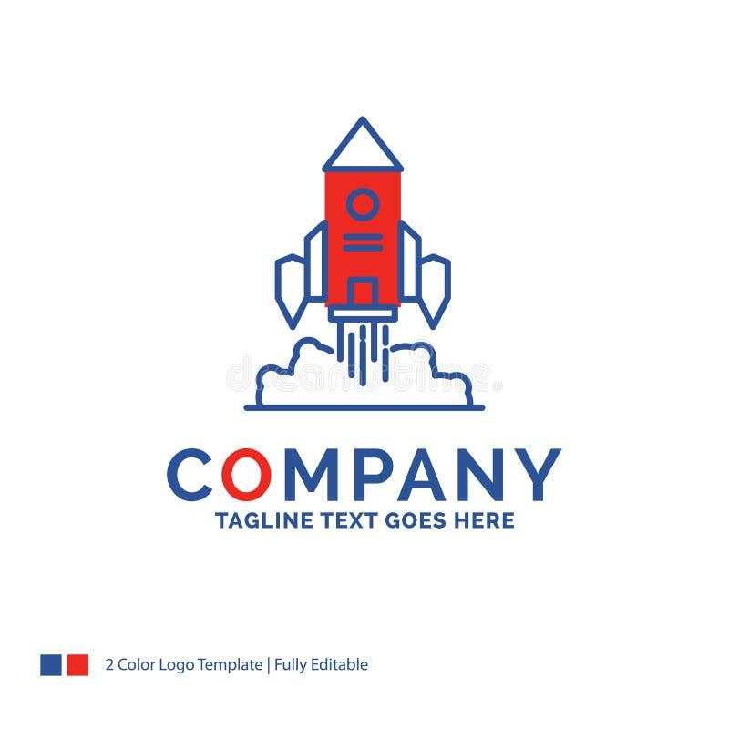 Σχέδιο λογότυπων ονόματος επιχείρησης για τον πύραυλο, διαστημόπλοιο, ξεκίνημα, έναρξη απεικόνιση αποθεμάτων