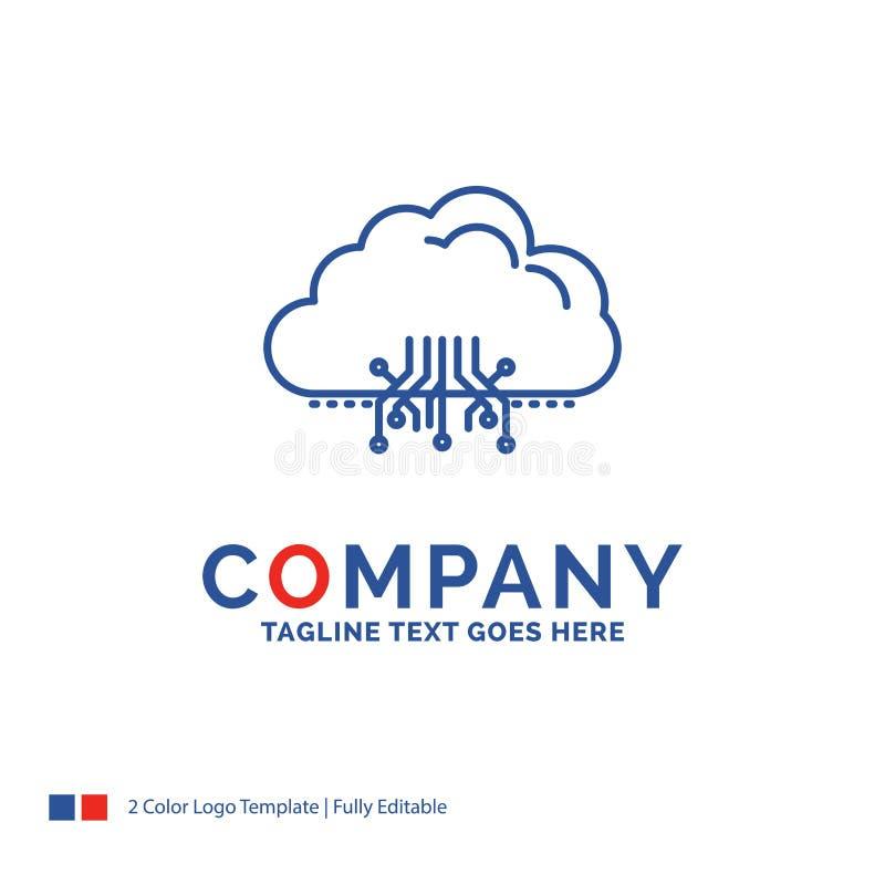 Σχέδιο λογότυπων ονόματος επιχείρησης για το σύννεφο, υπολογισμός, στοιχεία, φιλοξενία, ΝΕ διανυσματική απεικόνιση