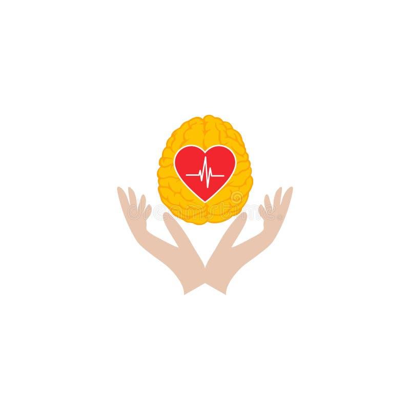 Σχέδιο λογότυπων προσοχής εγκεφάλου καρδιών διανυσματική απεικόνιση