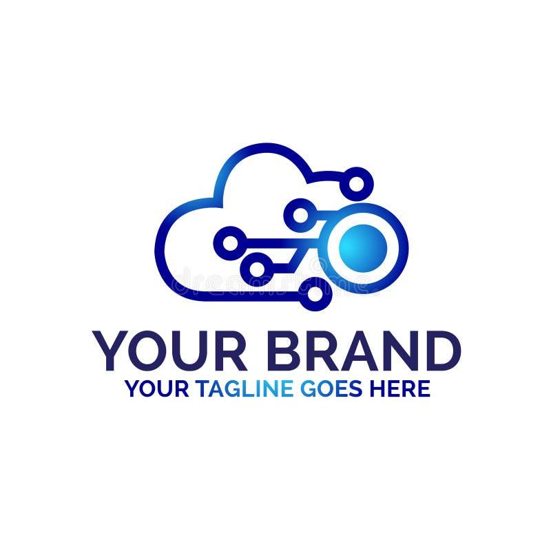 Σχέδιο λογότυπων σύννεφων με την έννοια τεχνολογίας - διάνυσμα απεικόνιση αποθεμάτων