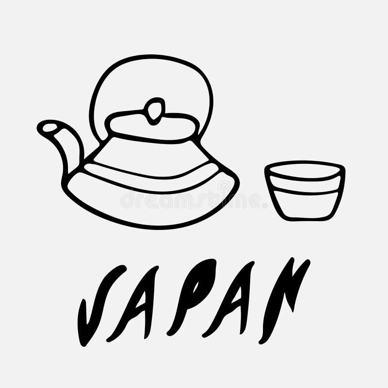 Σχέδιο λογότυπων της ΙΑΠΩΝΙΑΣ στο ύφος doodle απεικόνιση αποθεμάτων