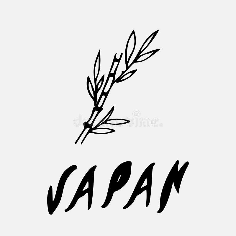 Σχέδιο λογότυπων της ΙΑΠΩΝΙΑΣ στο ύφος doodle διανυσματική απεικόνιση