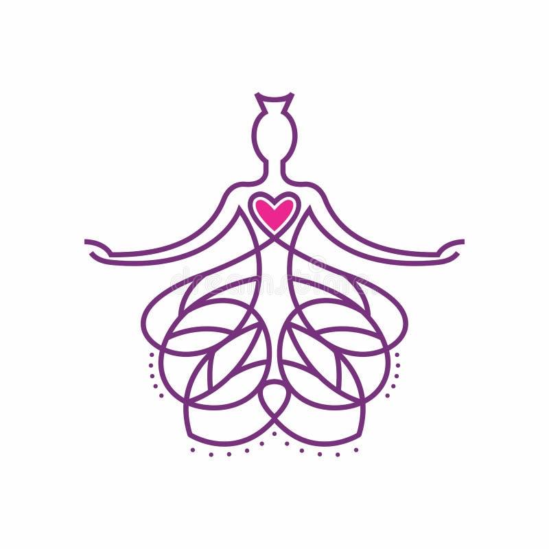 Σχέδιο λογότυπων του Βούδα που ενσωματώνεται με τη στάση heartMeditation απεικόνιση αποθεμάτων