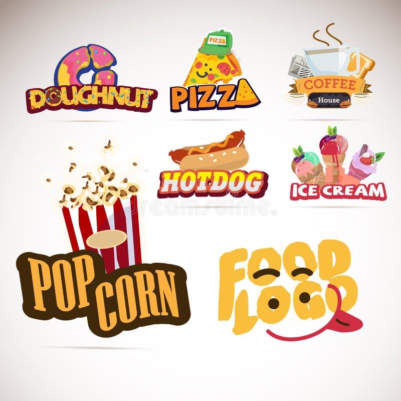 Σχέδιο λογότυπων τροφίμων Doughnut Πίτσα Καφές Popcorn παγωτό πάγου κρέμας κώνων σοκολάτας ανασκόπησης πέρα από το λευκό βανίλιας ελεύθερη απεικόνιση δικαιώματος