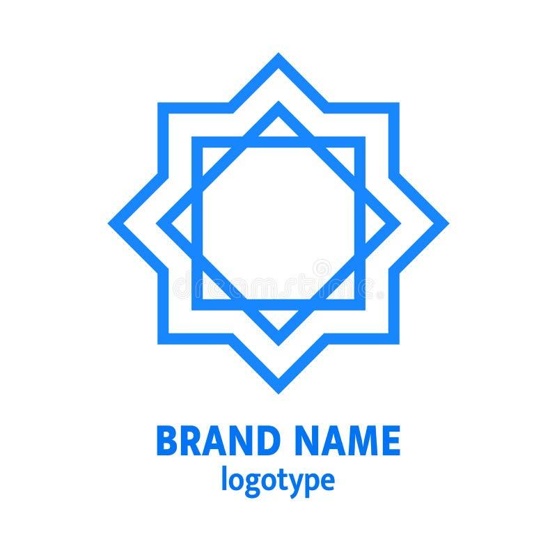 Σχέδιο λογότυπων Hexagram Αστέρι του Δαυίδ logotype Γεωμετρικό εβραϊκό εικονίδιο αστεριών, στοιχείο με το απλό κείμενο Ιουδαϊκή έ διανυσματική απεικόνιση