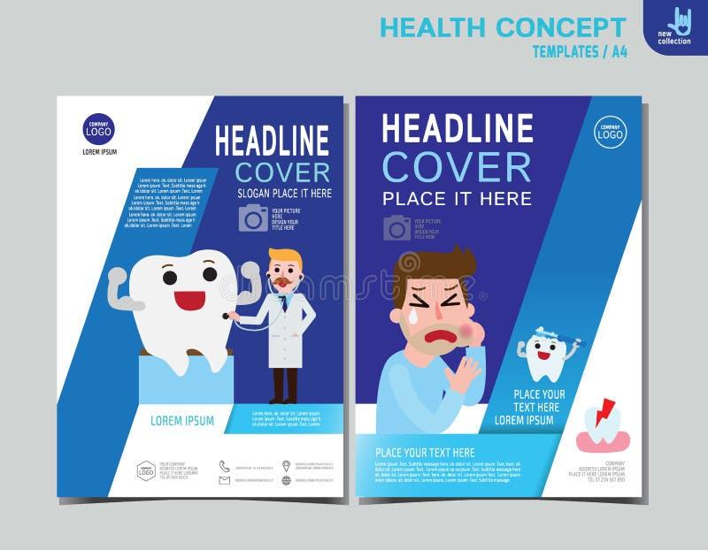 Σχέδιο μεγέθους προτύπων A4 φυλλάδιων φυλλάδιων υγείας ιπτάμενων διανυσματική απεικόνιση