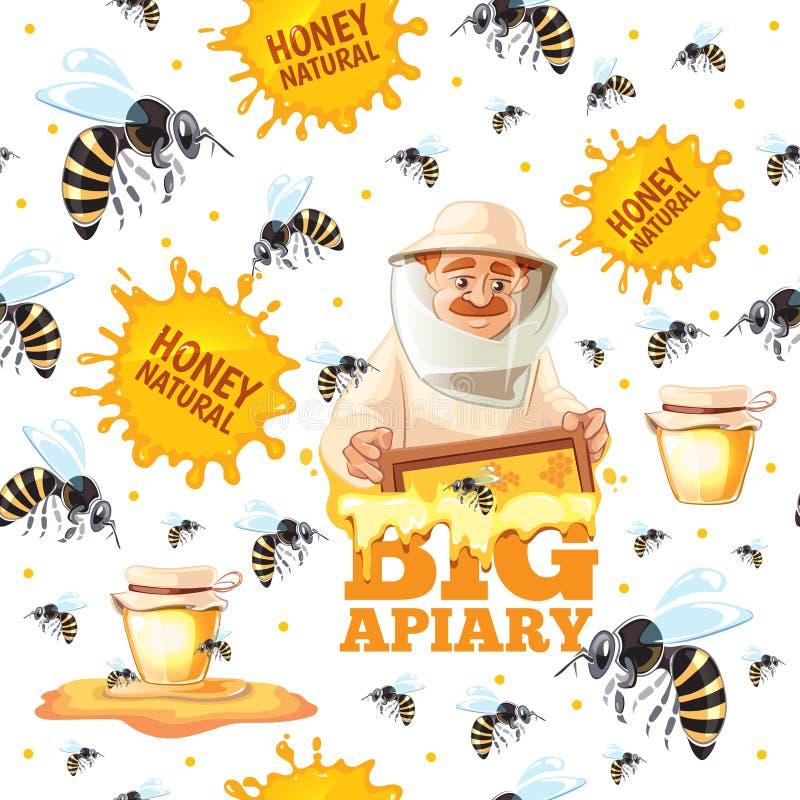 Σχέδιο μελισσουργείων Μέλισσες και beekeepers μελιού άνευ ραφής υπόβαθρο κινούμενων σχεδίων μασκών στο διανυσματικό ελεύθερη απεικόνιση δικαιώματος