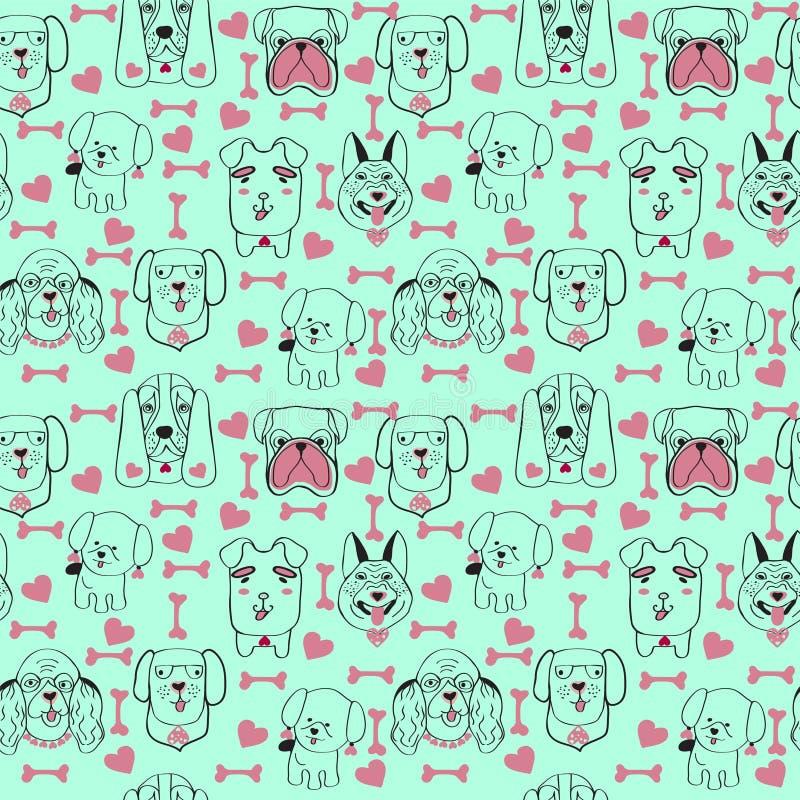 Σχέδιο με καθιερώνον τη μόδα υπόβαθρο σκυλιών κατοικίδιων ζώων το χαριτωμένο στο σκίτσο απεικόνιση αποθεμάτων