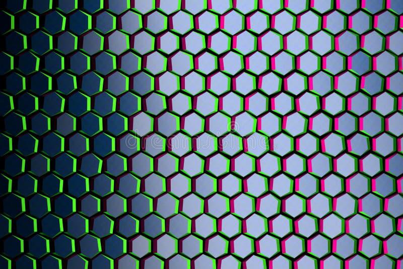 Σχέδιο με μπλε hexagons με τις πράσινες και πορφυρές άκρες διανυσματική απεικόνιση