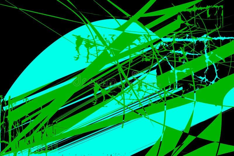 Σχέδιο με τα αφηρημένα στοιχεία των τυρκουάζ και πράσινων χρωμάτων απεικόνιση αποθεμάτων