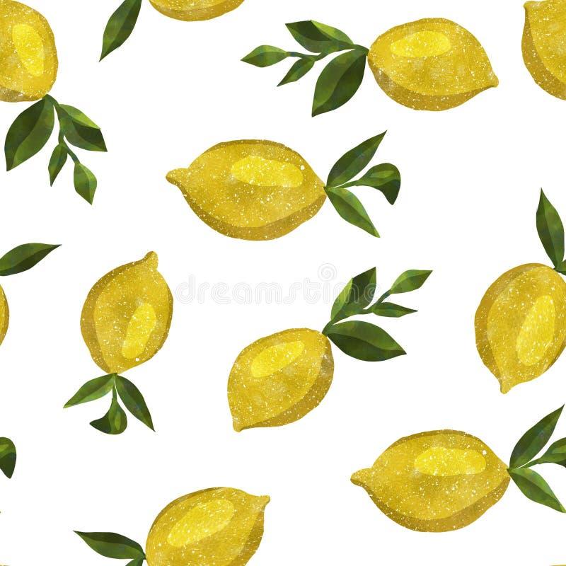 Σχέδιο με τα λεμόνια watercolor στοκ εικόνα