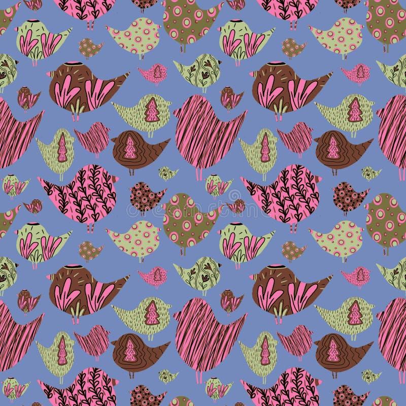 Σχέδιο με τα πολύχρωμα πουλιά ελεύθερη απεικόνιση δικαιώματος