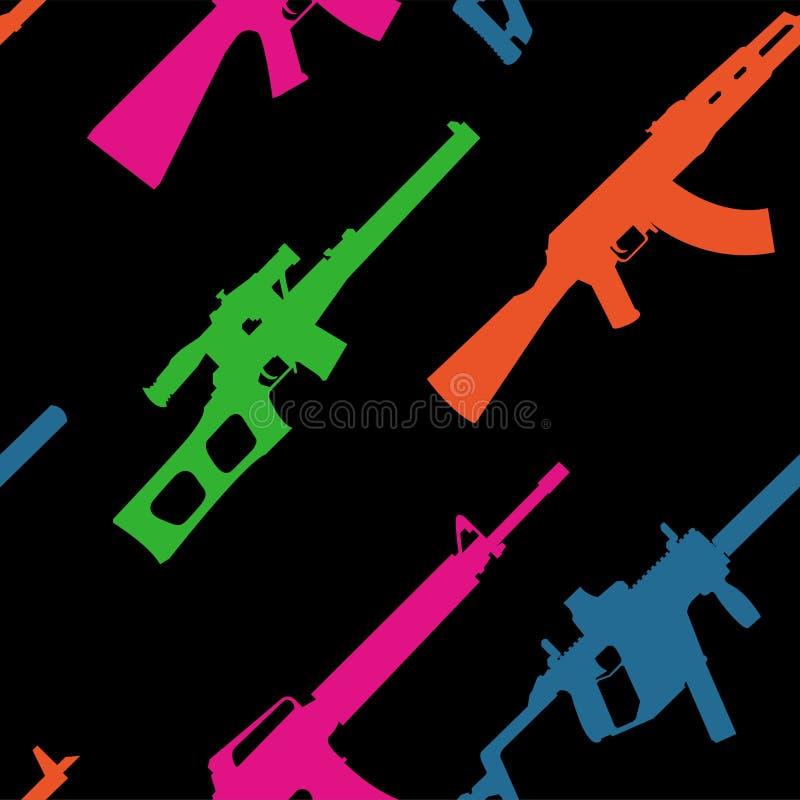Σχέδιο με τα σύγχρονα όπλα στους όξινους τόνους σε ένα μαύρο υπόβαθρο διανυσματική απεικόνιση