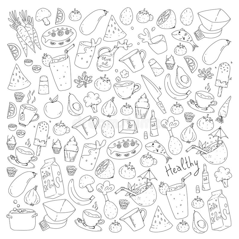 Σχέδιο με τα υγιή τρόφιμα Μαγειρεύοντας κατηγορία, στοιχεία επιλογών για το εστιατόριο, καφές Γάλα, παγωτό, ψάρια, χυμός, αβοκάντ απεικόνιση αποθεμάτων