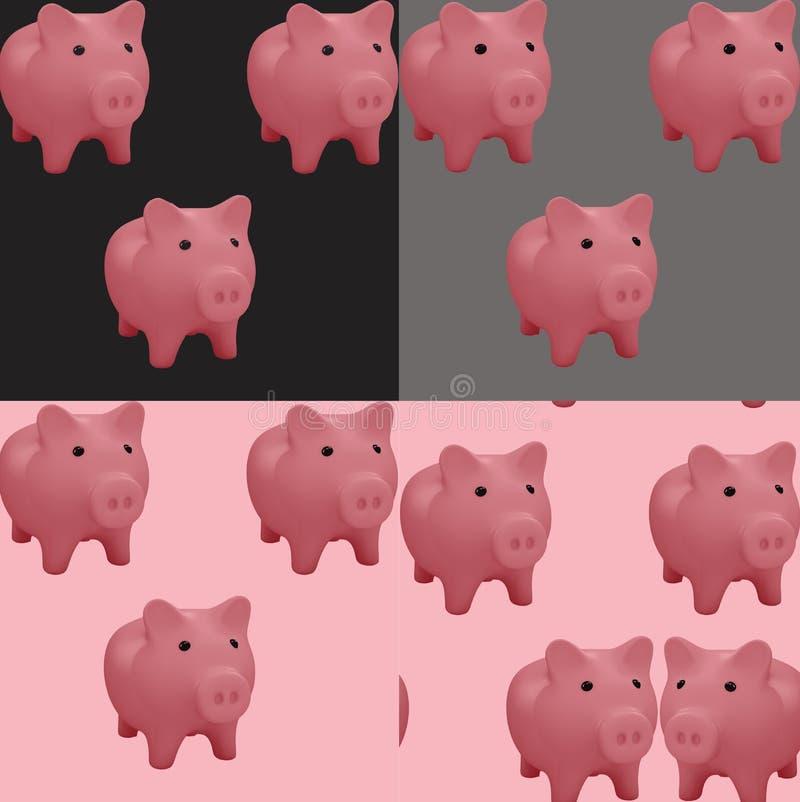 Σχέδιο με τη ρόδινη τράπεζα χοίρων τρισδιάστατος σπαραγμός απεικόνιση αποθεμάτων