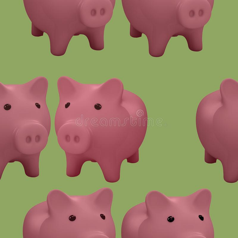 Σχέδιο με τη ρόδινη τράπεζα χοίρων διανυσματική απεικόνιση