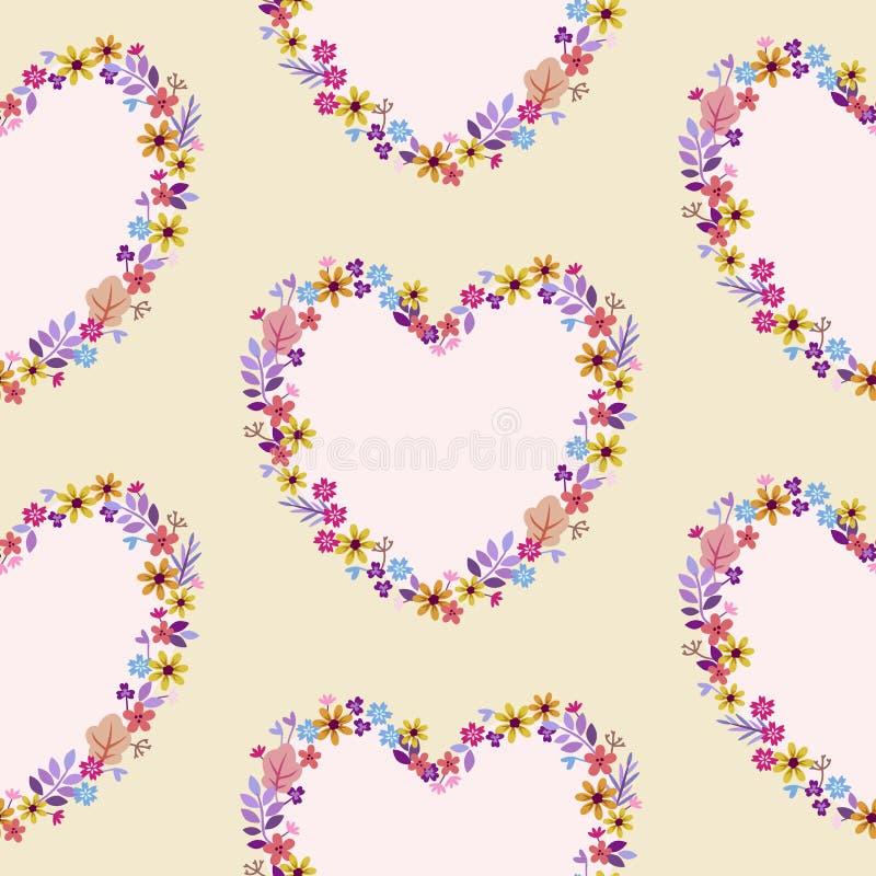 Σχέδιο με τις καρδιές των λεπτών χρωμάτων κρητιδογραφιών wildflowers απεικόνιση αποθεμάτων
