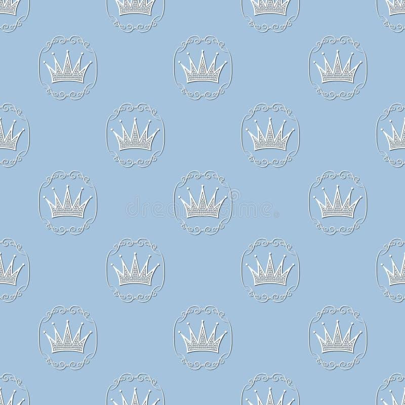 σχέδιο με τις κορώνες στο εκλεκτής ποιότητας πλαίσιο διάνυσμα ελεύθερη απεικόνιση δικαιώματος