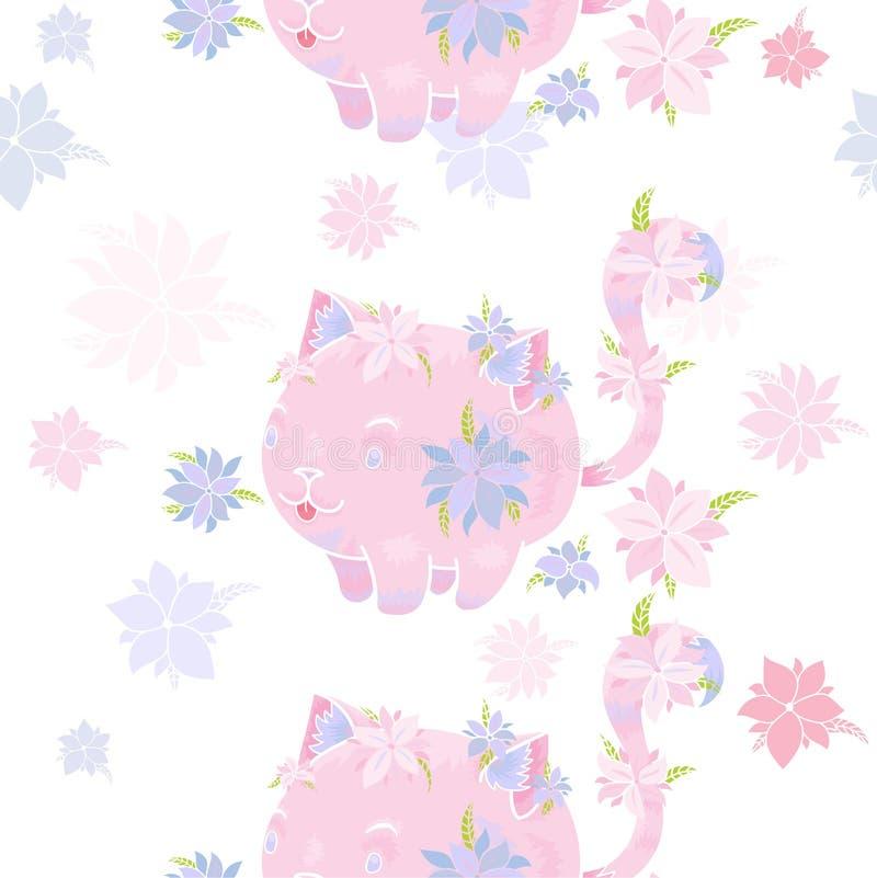 Σχέδιο με τις ρόδινα γάτες και τα λουλούδια απεικόνιση αποθεμάτων