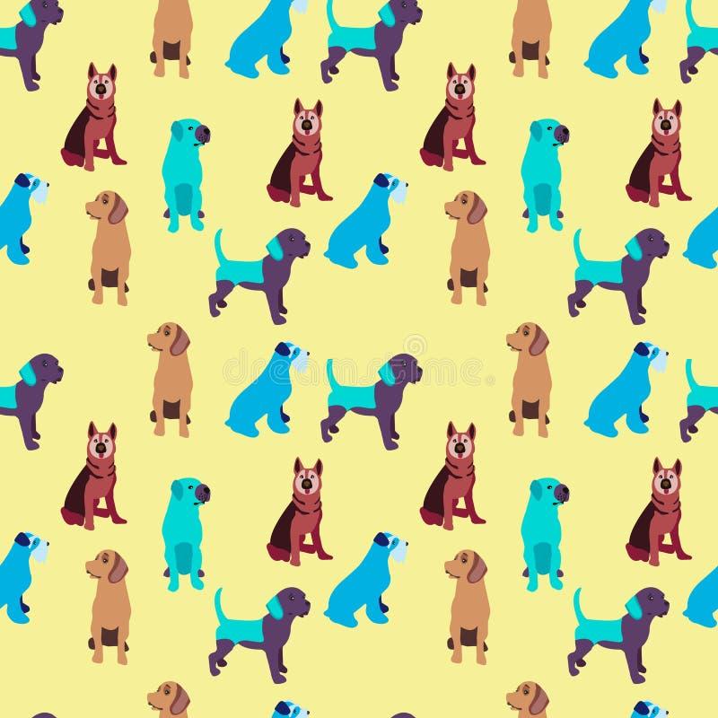 Σχέδιο με το ζωηρόχρωμο υπόβαθρο σκυλιών διανυσματική απεικόνιση