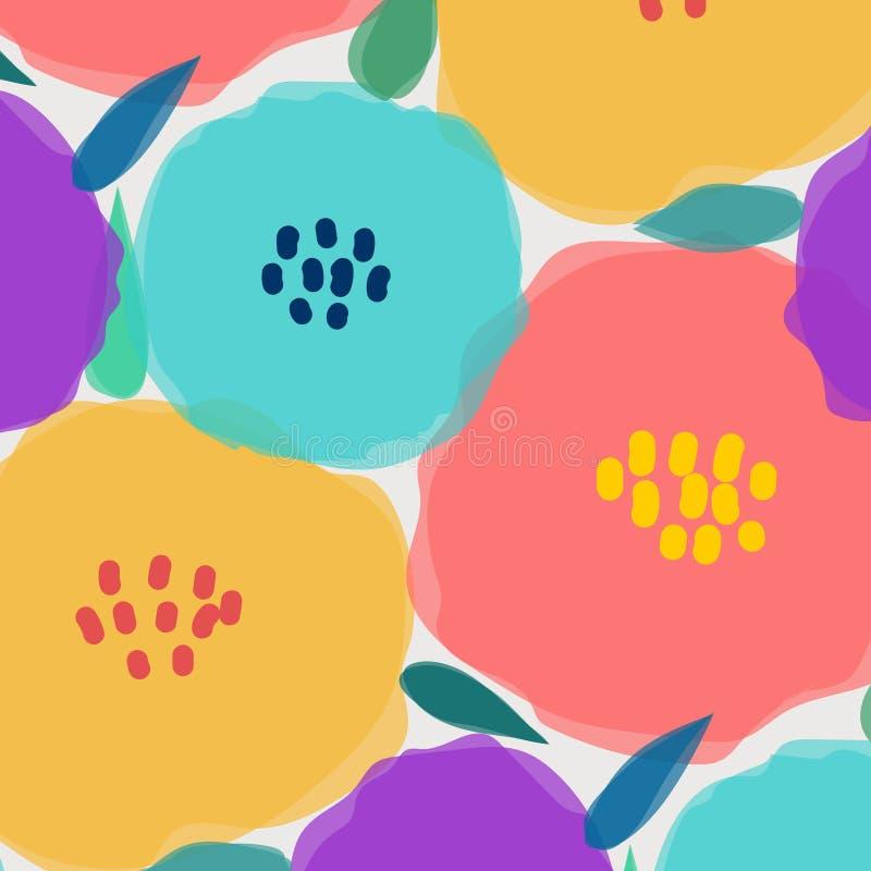 Σχέδιο με το μεγάλο λουλούδι κρητιδογραφιών διανυσματική απεικόνιση