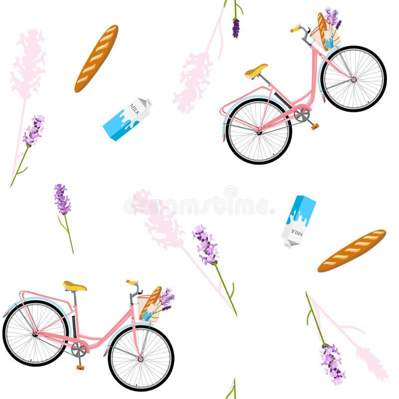 Σχέδιο με το ρεαλιστικό ποδήλατο, άνευ ραφής σχέδιο με το ρομαντικό ποδήλατο, λουλούδια Ποδήλατο για το πρόγευμα με lavender, φρέ απεικόνιση αποθεμάτων