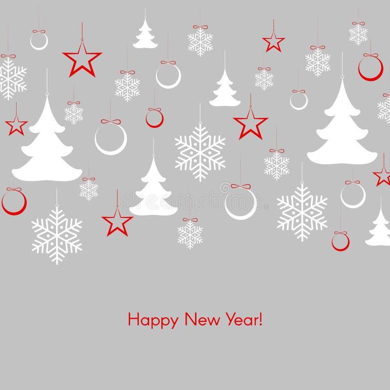 Σχέδιο με fir-trees snowflakes τις σφαίρες των αστεριών με το χειμερινό υπόβαθρο καλής χρονιάς κειμένων διανυσματική απεικόνιση