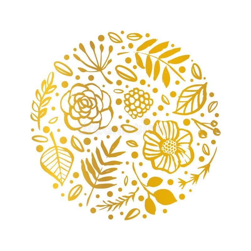 Σχέδιο μορφής κύκλων λουλουδιών Χρυσή Floral κάρτα Χέρι που σύρεται illust απεικόνιση αποθεμάτων