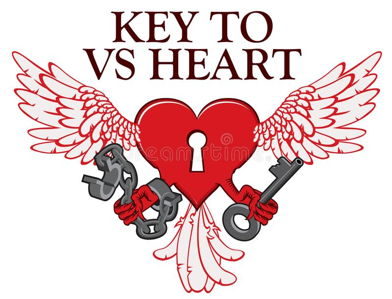 Σχέδιο μπλουζών με την κλειδαριά στη μορφή της φτερωτής καρδιάς διανυσματική απεικόνιση