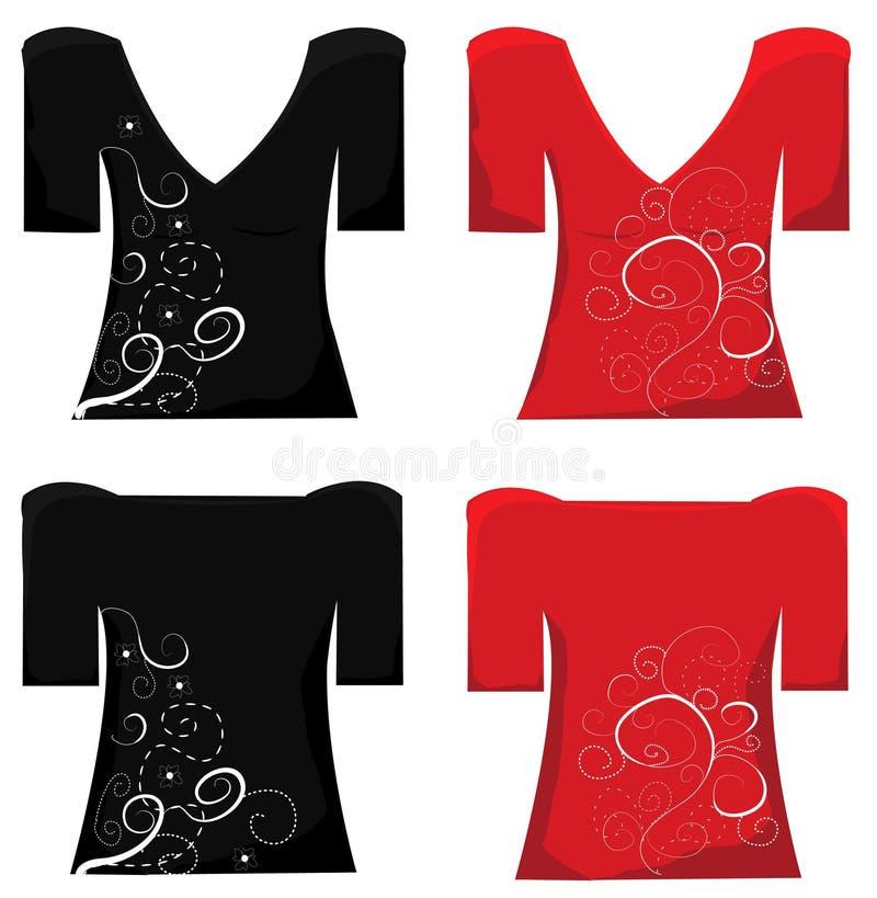 Σχέδιο μπλουζών. Μπλούζα γυναικών. διανυσματική απεικόνιση