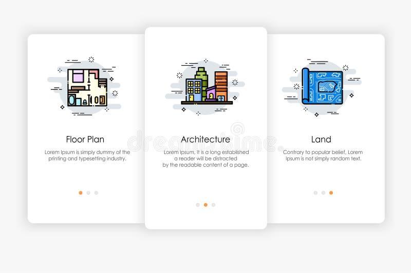 Σχέδιο οθονών Onboarding στην έννοια οικοδόμησης και αρχιτεκτονικής διανυσματική απεικόνιση