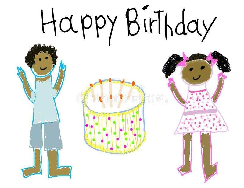 σχέδιο παιδιών γενεθλίων ευτυχές όπως ελεύθερη απεικόνιση δικαιώματος