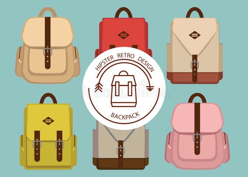 Σχέδιο πακέτων Hipster με τα αναδρομικά καθιερώνοντα τη μόδα σχολικά σακίδια πλάτης μόδας, απεικόνιση ύφασμα, ύφος, εκλεκτής ποιό στοκ φωτογραφίες με δικαίωμα ελεύθερης χρήσης