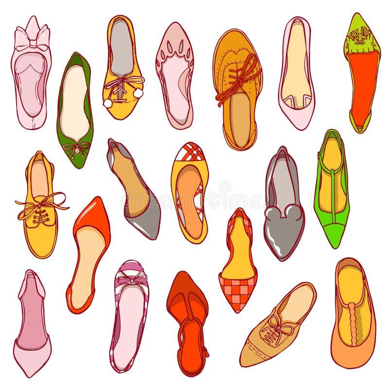 Σχέδιο παπουτσιών γυναικών Διανυσματική σύσταση των διαφορετικών υποδημάτων διανυσματική απεικόνιση
