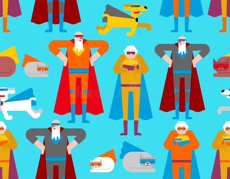 Σχέδιο παππούδων και γιαγιάδων και κατοικίδιων ζώων Superhero άνευ ραφής Έξοχος παππούς και γιαγιά στον επενδύτη και τη μάσκα Υπό διανυσματική απεικόνιση