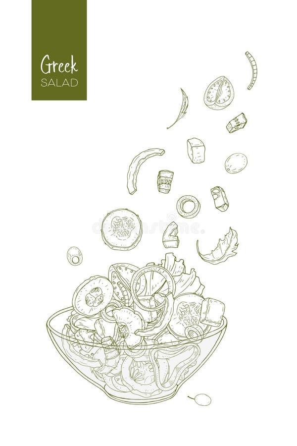Σχέδιο περιγράμματος της ελληνικής σαλάτας και των συστατικών του Ντομάτα, αγγούρι, ελιά, τυρί φέτας, κρεμμύδι, κομμάτια πιπεριών ελεύθερη απεικόνιση δικαιώματος