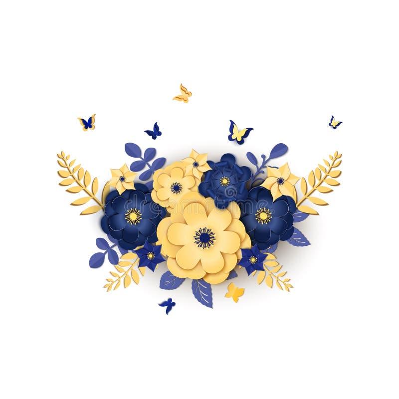 Σχέδιο περικοπών εγγράφου με τη σύνθεση λουλουδιών Όμορφο υπόβαθρο με τις floral διακοσμήσεις φαντασίας και πεταλούδα στο μπλε κα απεικόνιση αποθεμάτων